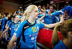 Lara Hrncic of Krim with fans after the handball match between RK Krim Mercator and Györi Audi ETO KC in Main Round of Women's EHF Champions League 2016/17, on February 25, 2017 in Arena Kodeljevo, Ljubljana, Slovenia. Photo by Vid Ponikvar / Sportida