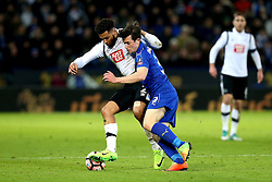 Cyrus Christie of Derby County takes on Ben Chilwell of Leicester City - Mandatory by-line: Robbie Stephenson/JMP - 08/02/2017 - FOOTBALL - King Power Stadium - Leicester, England - Leicester City v Derby County - Emirates FA Cup fourth round replay