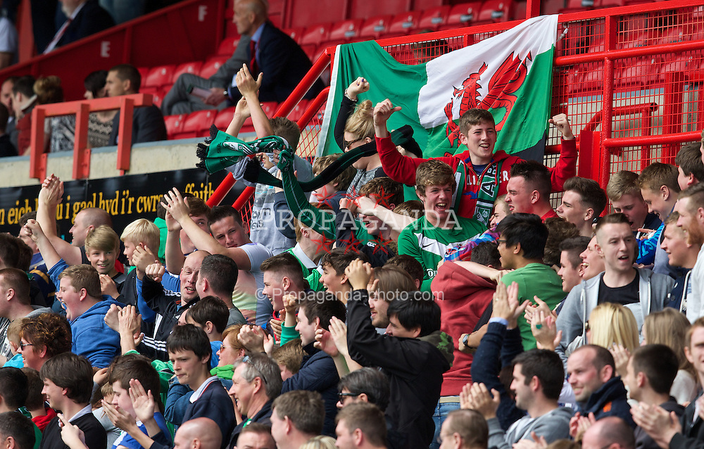 WREXHAM, WALES - Saturday, May 3, 2014: Aberystwyth Town supporters celebrate their side's opening goal against The New Saints during the Welsh Cup Final at the Racecourse Ground. (Pic by David Rawcliffe/Propaganda)