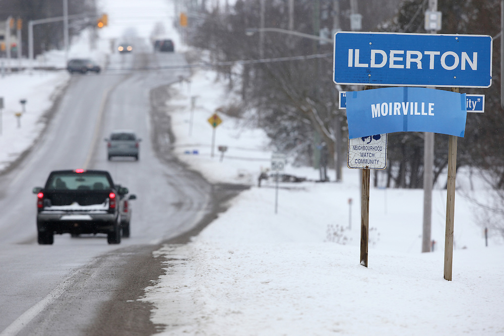 A sign at the edge of Ilderton, Ontario, hometown of Canadian ice dancer Scott Moir renames the town Moirville in honor of Moir's gold medal with partner Tessa Virtue at the 2010 Olympics in Vancouver Monday night.<br /> GEOFF ROBINS for The Globe and Mail