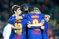 FC Barcelona's players celebrate goal during La Liga match. December 17,2016. (ALTERPHOTOS/Acero)