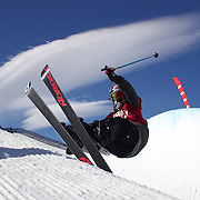 Anais Caradeux, France, in action in the Women's Halfpipe Finals during The North Face Freeski Open at Snow Park, Wanaka, New Zealand, 3rd September 2011. Photo Tim Clayton..