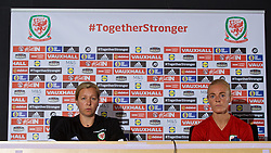 SWANSEA, WALES - Wednesday, June 6, 2018: Wales' manager Jayne Ludlow (left) and captain Sophie Ingle (right) during a press conference at the Liberty Stadium ahead of the FIFA Women's World Cup 2019 Qualifying Round Group 1 match against Bosnia and Herzegovina. (Pic by David Rawcliffe/Propaganda)