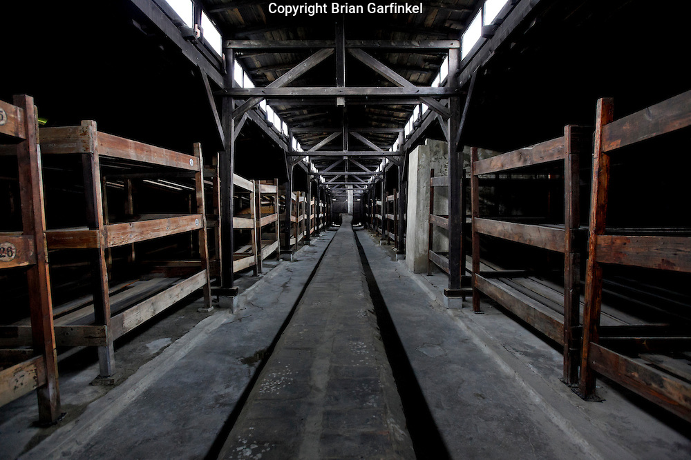 Inside a barack in Auschwitz-Birkenau Concentration Camp in Poland on Tuesday July 5th 2011.an average of 5 people would be assigned to each bunk.  (Photo by Brian Garfinkel)
