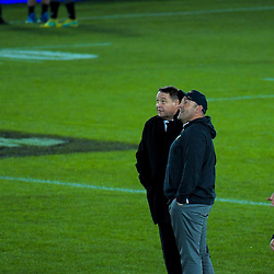 Head coaches Steve Hansen and Mario Ledesma chat before the Rugby Championship match between the New Zealand All Blacks and Argentina Pumas at Trafalgar Park in Nelson, New Zealand on Saturday, 8 September 2018. Photo: Dave Lintott / lintottphoto.co.nz
