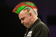 Peter Wright during the Premier League Darts  at the Motorpoint Arena, Cardiff, Wales on 31 March 2016. Photo by Shane Healey.