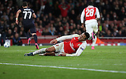Arsenal striker Alexis Sanchez hurt himself in a challange during the Champions League match between Arsenal and Dinamo Zagreb at the Emirates Stadium, London, England on 24 November 2015. Photo by Matthew Redman.