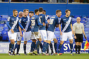 Birmingham City defender Michael Morrison celebrates opening goal during the The FA Cup third round match between Birmingham City and Bournemouth at St Andrews, Birmingham, England on 9 January 2016. Photo by Alan Franklin.