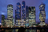 Moscow business center at night.