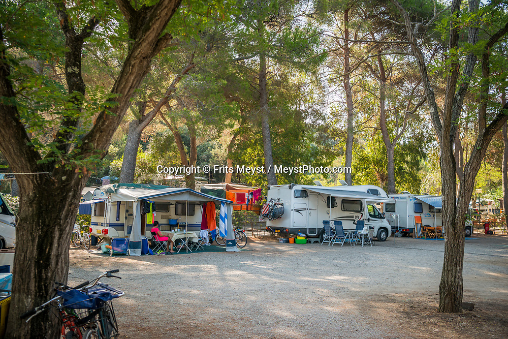 Maremma, Tuscany, Italy, July 2016. Camping Village Santapomata in Castiglione della Pescaia. The shoreline of Tuscany is at its best in the Maremma region; the name derives from Marittima, referring to the rugged coastal strip and inland hills of the Grosseto, Tuscany's southernmost province.  Photo by Frits Meyst / MeystPhoto.com