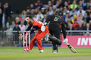 Leicestershire Foxes Harry Dearden just in  during the Vitality T20 Blast North Group match between Lancashire Lightning and Leicestershire Foxes at the Emirates, Old Trafford, Manchester, United Kingdom on 30 August 2019.
