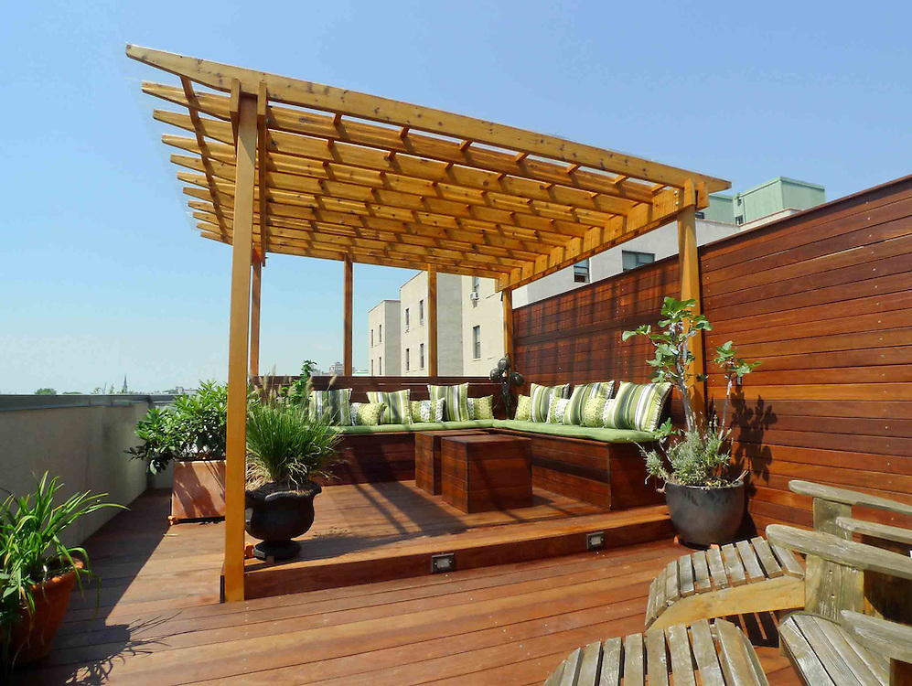 New York Rooftop terrace designed with two decks, pergola, cabana and  custom furniture. - New York Rooftop Terrace With Covered Pergola Featuring Custom
