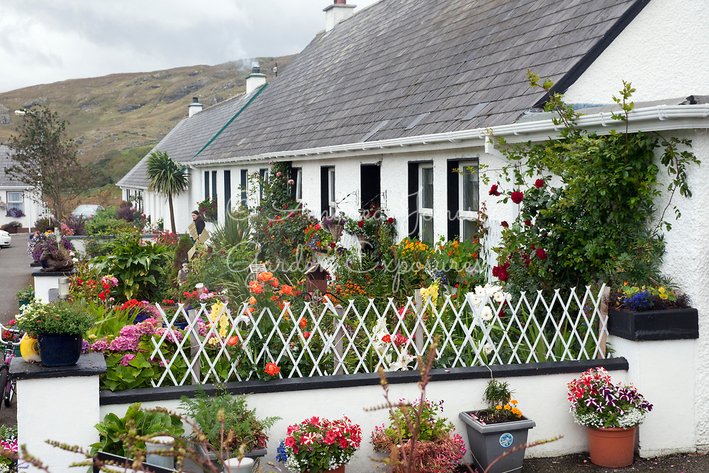 Street view of the gardens in Father McDyer Terrace, Glencolmkille, Co. Donegal, Ireland