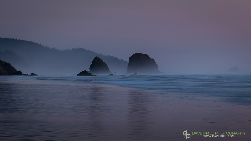 Fog rolling in just after sunset, Cannon Beach, Oregon
