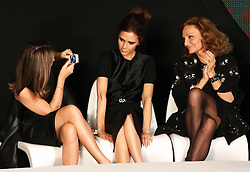 Natalie Massenet , Chairman of the British Fashion Council, Victoria Beckham and Diane von Furstenberg at the 2013 International Woolmark Prize final  in London, 2013, Saturday, 16th February 2013  Photo by: Stephen Lock / i-Images