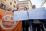 2013/04/18 Roma, proteste in piazza Montecitorio contro la mancata candidatura di Stefano Rodota' a presidente della Repubblica. Nella foto alcuni manifestanti dei Giovani Democratici.<br /> Rome, protests and demo in Piazza Montecitorio against the non-candidacy of Stefano Rodota ' for president . In the picture some protesters of Giovani Democratici, the juvenile organization of PD (Partito Democratico) hold note reading ' PD people want Rodota' ' and ' Rodota' is the change, Marini is the defeat ' - &copy; PIERPAOLO SCAVUZZO