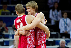 Sergey Monya of Russia and Andrei Kirilenko of Russia celebrate after winning the basketball game between National basketball teams of F.Y.R. of Macedonia and Russia of 3rd place game of FIBA Europe Eurobasket Lithuania 2011, on September 18, 2011, in Arena Zalgirio, Kaunas, Lithuania. Russia defeated Macedonia 72-68 and won bronze medal. (Photo by Vid Ponikvar / Sportida)