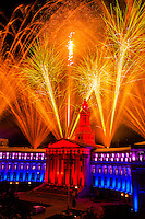Fireworks above the City and County Building, Independence Eve, Civic Center Park, Denver, Colorado USA