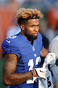CINCINNATI, OH - AUGUST 14: Odell Beckham Jr. #13 of the New York Giants looks on against the Cincinnati Bengals during a preseason game at Paul Brown Stadium on August 14, 2015 in Cincinnati, Ohio. The Bengals defeated the Giants 23-10. (Photo by Joe Robbins)  Odell Beckham Jr.