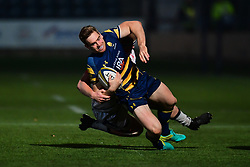 Tom Heathcote of Worcester Warriors is tackled by Matt Postlethwaite of Sale Sharks - Mandatory by-line: Craig Thomas/JMP - 03/11/2017 - RUGBY - Sixways Stadium - Worcester, England - Worcester Warriors v Sale Sharks - Anglo Welsh Cup