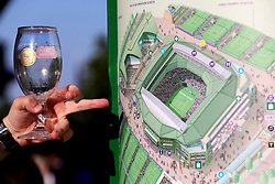 A spectator looks at a map of centre court and the surrounding area on day eight of the Wimbledon Championships at the All England Lawn Tennis and Croquet Club, Wimbledon.
