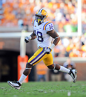 October 15, 2011: LSU Tigers safety Brandon Taylor (18) during the game against the Tennessee Volunteers at Neyland Stadium in Knoxville, Tenn. LSU won by a score of 38 to 7.