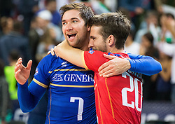 17-10-2015 BUL: Volleyball European Championship Frankrijk - Bulgarije, Sofia<br /> Semifinal in Arena Armeec Sofia / Kevin Tillie #7 of France and Nicolas Rossard #20 of France celebrate<br /> Photo: Vid Ponikvar / RHF<br /> +++USE NETHERLANDS ONLY+++