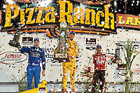 Ryan Hunter-Reay, Josef Newgarden, Tony Kanaan, Newton, IA, USA 7/12/2014