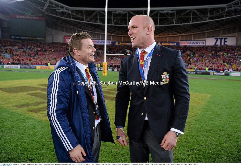 6 July 2013; Brian O'Driscoll, left, and Paul O'Connell, British & Irish Lions, following their side's victory. British & Irish Lions Tour 2013, 3rd Test, Australia v British & Irish Lions. ANZ Stadium, Sydney Olympic Park, Sydney, Australia. Picture credit: Stephen McCarthy / SPORTSFILE