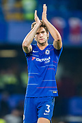 Marco Alonso (Chelsea) thanks the Chelsea FC supporters following the Premier League match between Chelsea and Crystal Palace at Stamford Bridge, London, England on 4 November 2018.