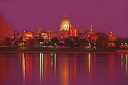 Harrisburg, PA Capitol Skyline, Night Lights, Susquehanna River