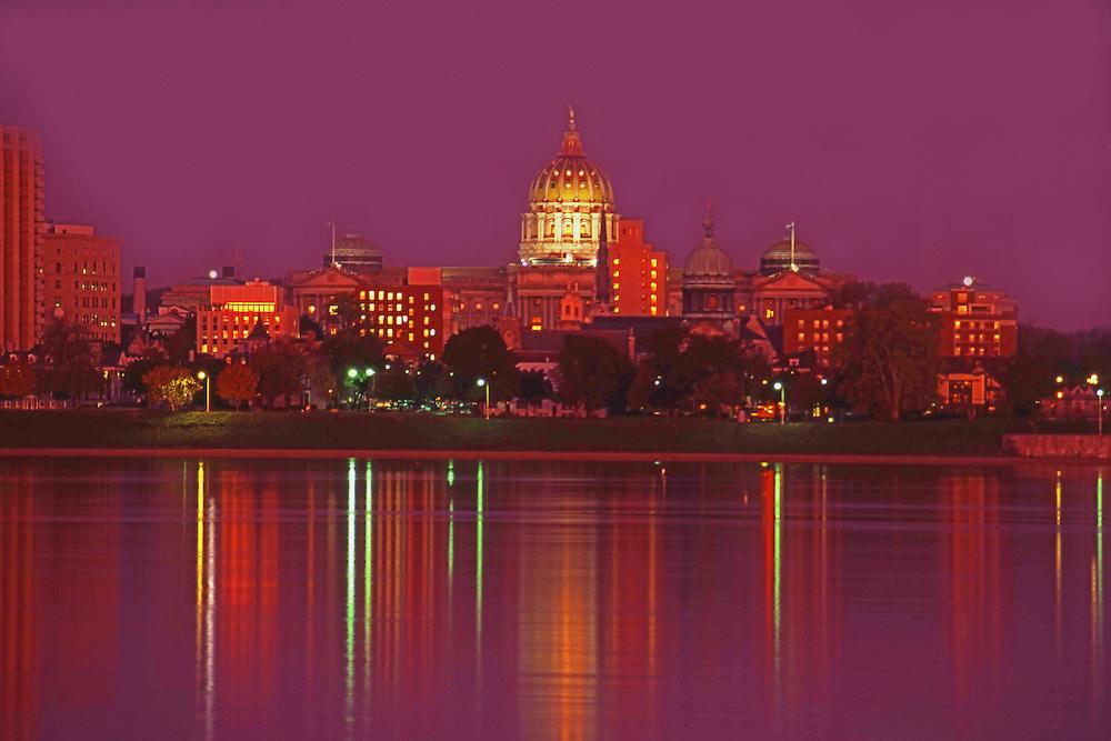 Harrisburg, PA Capitol Skyline, Night Lights, Susquehanna River