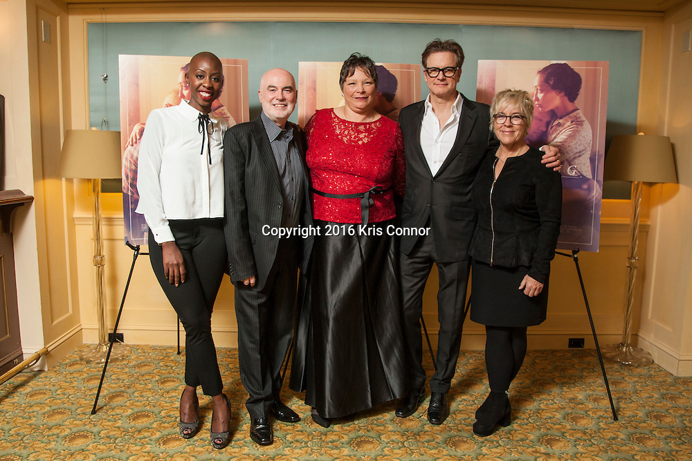 CHARLOTTESVILLE, VA - NOVEMBER 03:  Producers Oge Egbuonu, Ged Doherty, Peggy Loving and producers Colin Firth Sarah Green pose for a photo during the Virginia Film Festival premiere of Focus Features' Loving at The Paramount Theatre on November 3, 2016 in Charlottesville, Va. (Kris Connor/Focus Features)