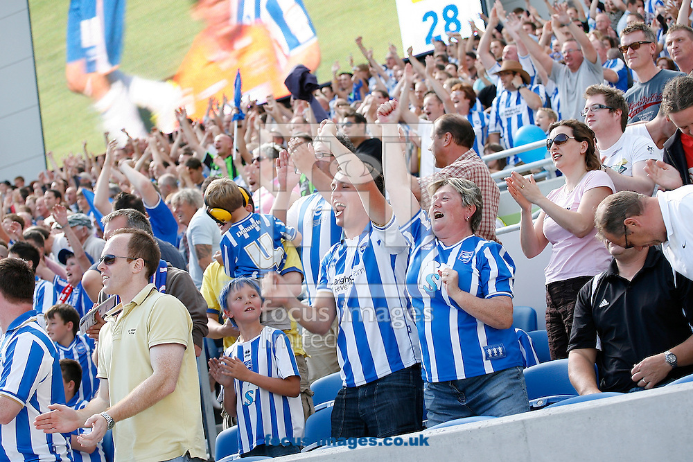 Picture by Paul Terry/Focus Images Ltd..20/8/11.Brighton fans celebrate the first goal during the Npower Championship match at the American Express Community Stadium, Brighton, West Sussex.