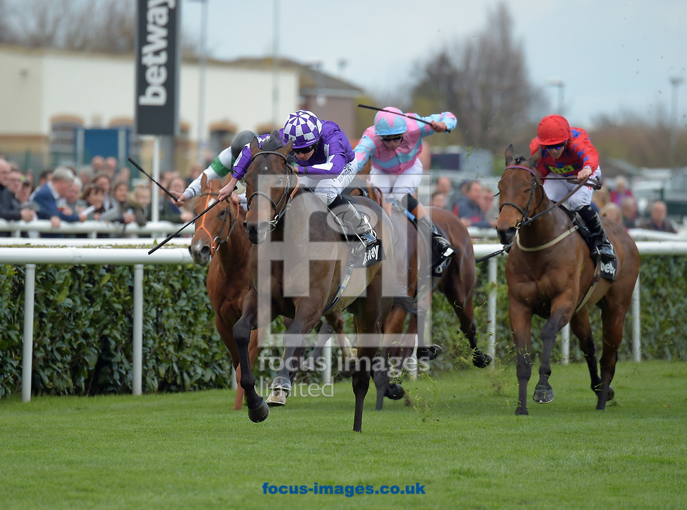 Tupi ridden by Ryan Moore (check cap) wins Betway Cammidge trophy during the Betway Lincoln meeting at Doncaster Racecourse, Doncaster<br /> Picture by Martin Lynch/Focus Images Ltd 07501333150<br /> 01/04/2017
