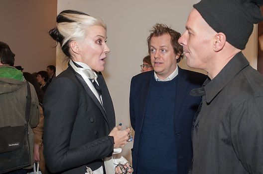 DAPHNE GUINNESS; TOM PARKER BOWLES; PAUL ROWEDAPHNE GUINNESS; TOM PARKER BOWLES; PAUL ROWE, This is not an Exit. Mat Collishaw. Blain Southern. Hanover Sq. London. 13 February 2013.