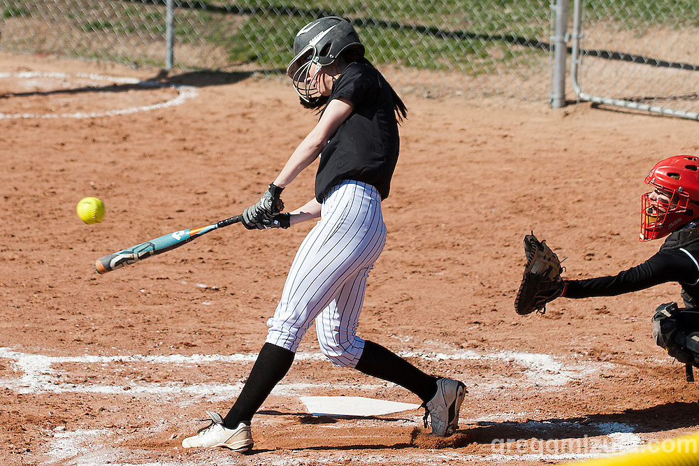 Vale senior Sasha Morcom bats during the Vale Payette softball game, March 22, 2014 at Payette, Idaho.
