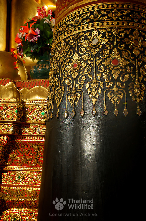 Ornate temple detail inside Wat Phumin, Nan, Thailand.