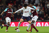 Son Heung-min of Tottenham Hotspur &copy; fends off Edimilson Fernandes of West Ham United (r). EFL Carabao Cup, 4th round match, Tottenham Hotspur v West Ham United at Wembley Stadium in London on Wednesday 25th October 2017.<br /> pic by Steffan Bowen, Andrew Orchard sports photography.