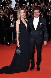 Nicole Kimpel and Antonio Banderas attending the Pain and Glory premiere, held at the Grand Theatre Lumiere during the 72nd Cannes Film Festival