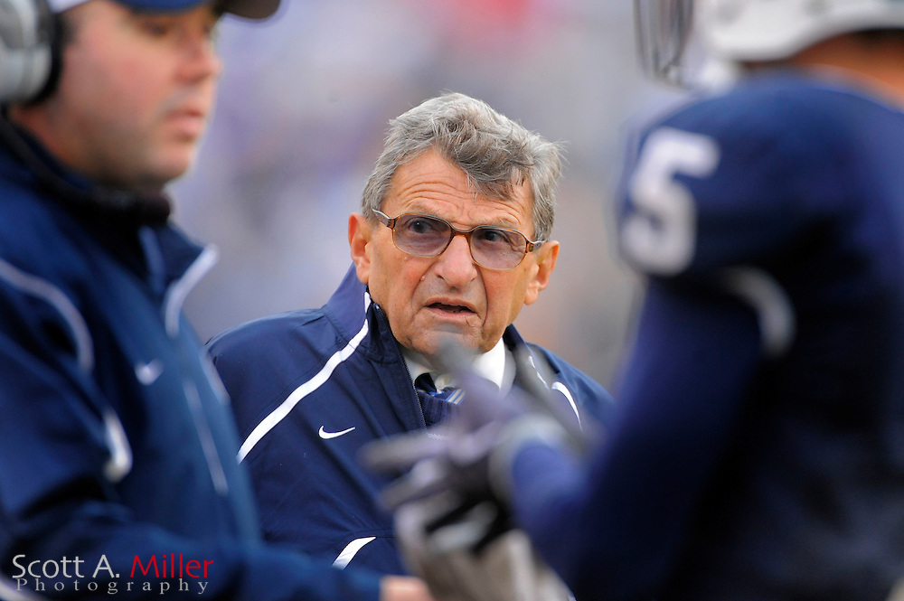 Jan. 1, 2010; Orlando, FL, USA; Penn State Nittany Lions coach Joe Paterno during his team's 19-17 win over the LSU Tigers in the 2009 Capital One Bowl at the Citrus Bowl. ©2010 Scott A. Miller