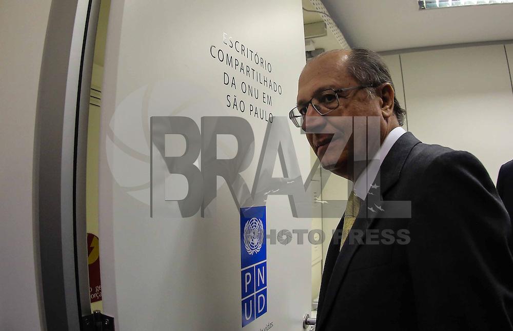 SAO PAULO, SP, 09 DE MAIO 2013 - INAUGURAÇÃO ESCRITORIO DA ONU EM SAO PAULO - Geraldo Alckmin governador de Sao Paulo durante solenidade de inauguração do escritório da ONU (Organização das Nações Unidas ) em São Paulo no centro da cidade de Sao Paulo nesta quinta-feira, 09. FOTO: VANESSA CARVALHO - BRAZIL PHOTO PRESS