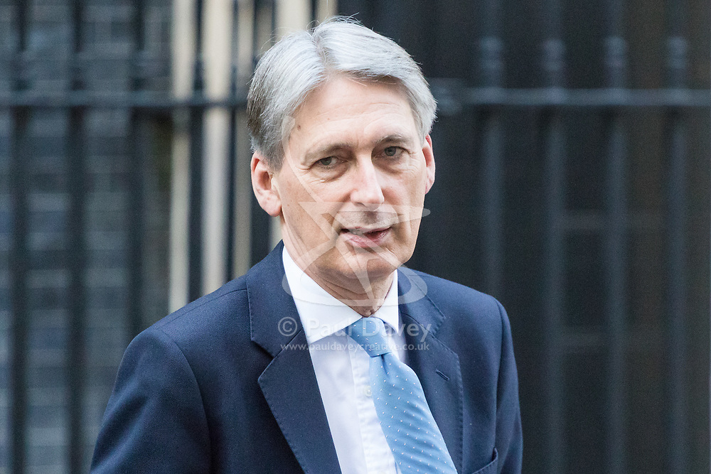 Downing Street, London, March 15th 2017. Chancellor of the Exchequer Philip Hammond arrives back at 11 Downing Street after having to U-turn on his increase in National Insurance charges for the self employed.