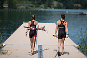"""Lucerne, SWITZERLAND, 12th July 2018, Thursday, Canadian, """"Lightweight Double Sculls"""", carry, their """"blades to the pontoon"""",  FISA World Cup III, Lake Rotsee, © Peter SPURRIER,"""