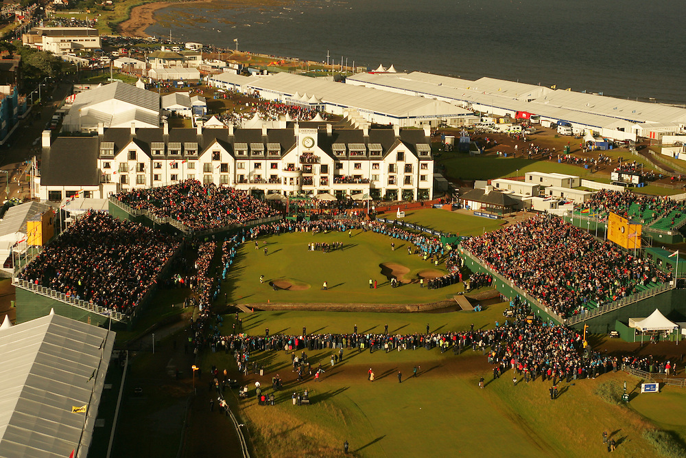 CARNOUSTIE, SCOTLAND - JULY 22:   Aerial view of the 18th green during the awards presentation for the 136th Open Championship in Carnoustie, Scotland at Carnoustie Golf Links on Sunday, July 22, 2007. (Photo by Darren Carroll/Getty Images) *** LOCAL CAPTION ***
