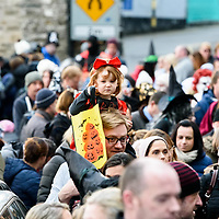 REPRO FREE<br /> Fiadh Wilson from Kinsale rides high above the crowd on father Brians shoulders at this years Kinsale Halloween parade.<br /> Picture. John Allen