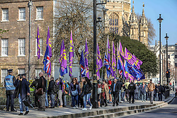 March 29, 2019 - London, U.K. - Leave campaigners wave their flags outside UK Houses of Parliament in London Friday, March 29, 2019, as MPs are expected to consider and vote on a Government motion on the EU withdrawal on Friday evening. (Credit Image: © Vedat Xhymshiti/ZUMA Wire)