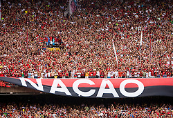 Maracana, no Rio de Janeiro. Torcida do Flamengo -  Nacao Rubro-Negra. Disputa da final do campeonato estadual 2008. Flamengo 3 x 1 Botafogo. /  Final game of Rio de Janeiro State Championship. Flamengo 3 x 1 Botafogo. Flamengo's football/soccer team -- the most popular in Brazil with 40 million estimated supporters, called scarlet-and-black nation.