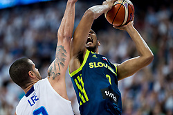Gerald Lee of Finland vs Anthony Randolph of Slovenia during basketball match between National Teams of Finland and Slovenia at Day 3 of the FIBA EuroBasket 2017 at Hartwall Arena in Helsinki, Finland on September 2, 2017. Photo by Vid Ponikvar / Sportida