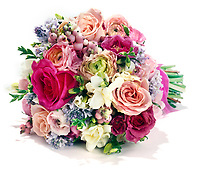 Pink and purple bouquet on white background